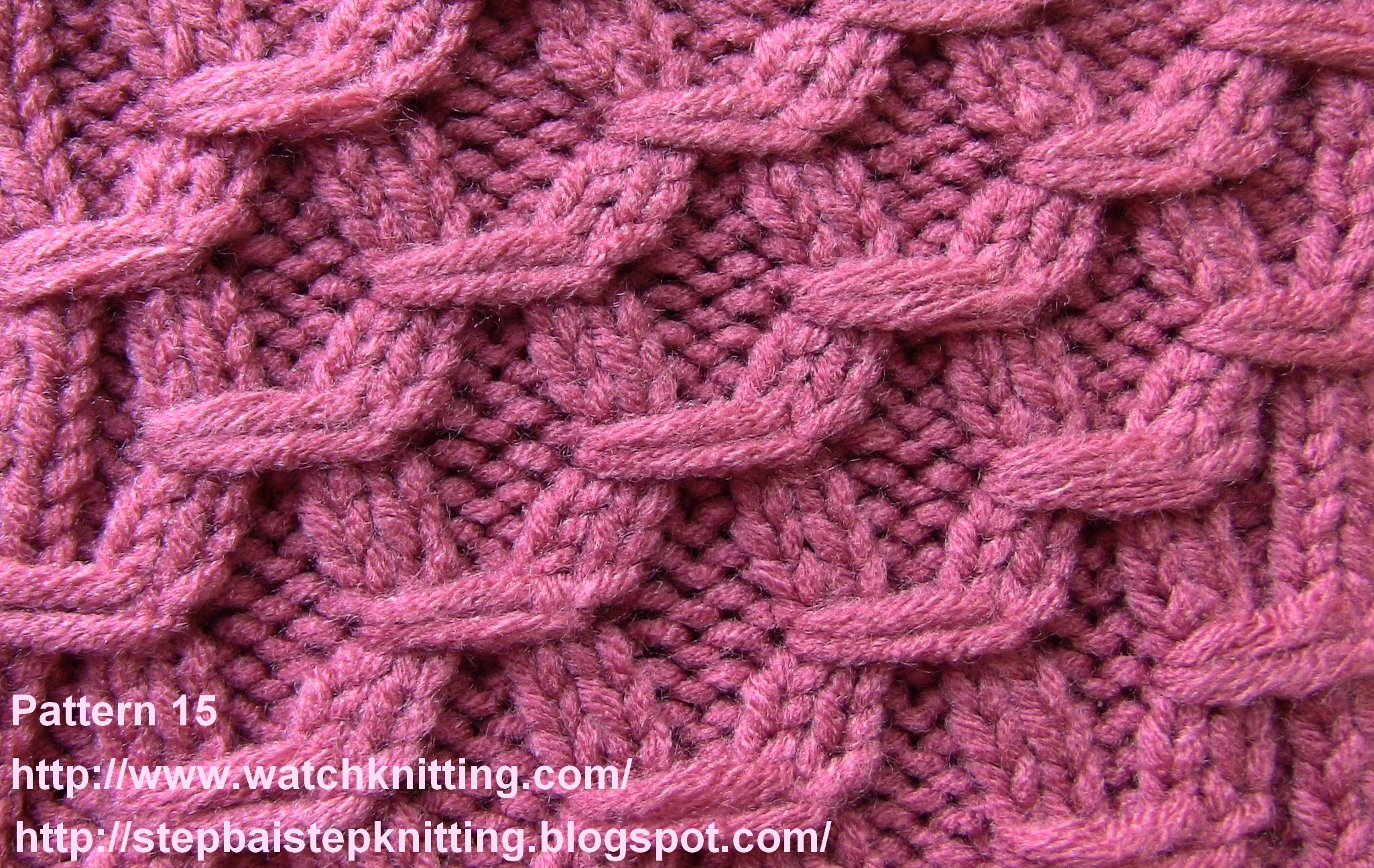 Knitted Patterns : Embossed Knitting stitches Watch Knitting